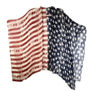 USA Patriotic Flag OS Kimono Shawl beaded Tassels